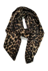 Blue Suede Brushed Leopard Over-sized Scarf