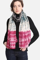 Blue Suede Three Tone Tie-Dyed Print Oblong Scarf