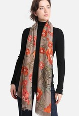 Blue Suede Fall Floral Print Oblong Scarf
