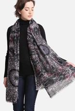 Blue Suede Peacock Feather Print Oblong Scarf