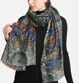 Blue Suede Peacock Feather Printed Oblong Scarf