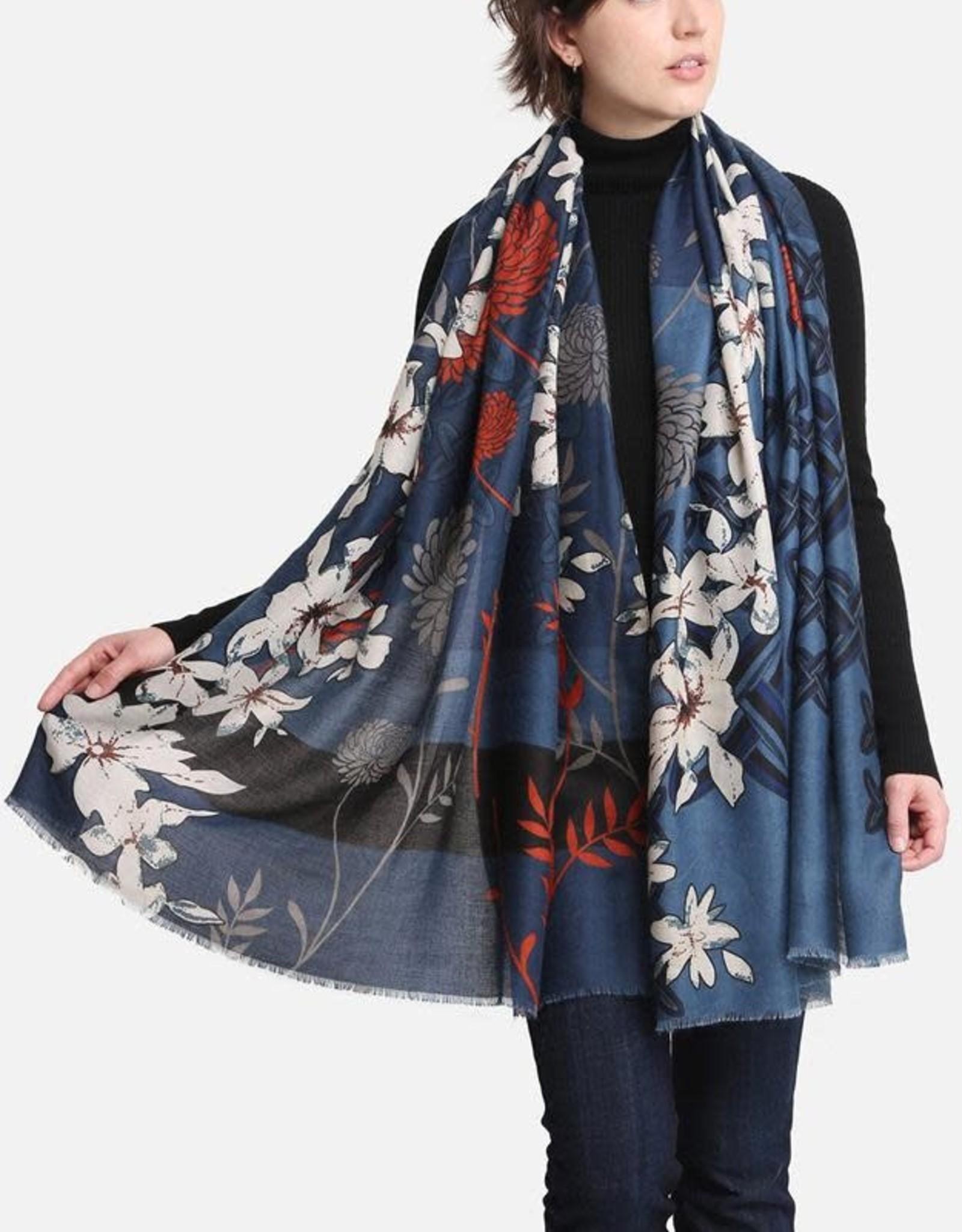 Blue Suede Modern Floral Scarf