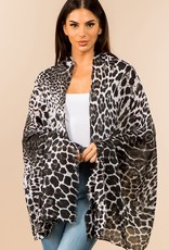 Blue Suede Leopard Printed Oblong Scarf