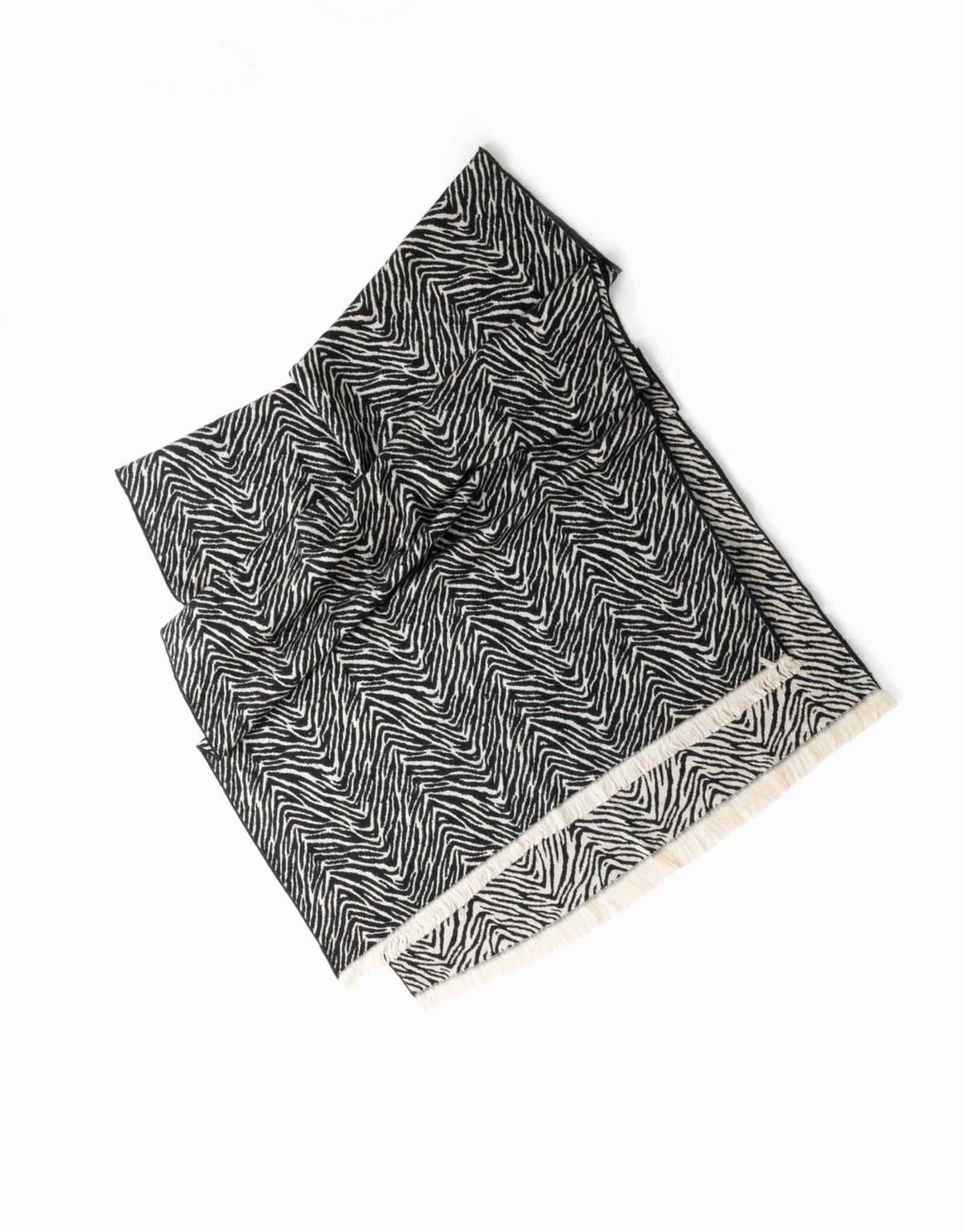 Look By M Zebra Pattern Woven Scarf