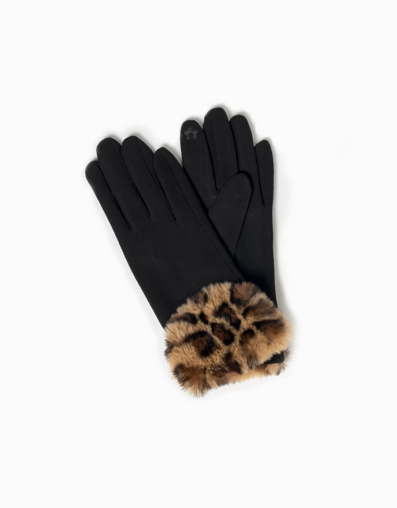 Look By M Leopard Faux Fur Trimmed Gloves