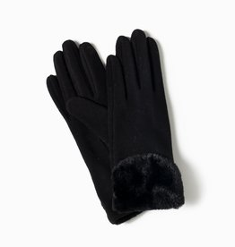 Look By M Faux Fur Trimmed Gloves