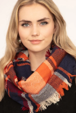 Blue Suede Plaid Frayed Edge Infinity Scarf