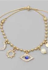 Blue Suede Jewels Moon / Sun / Evil Eye / Pearl / Heart Charm Delicate Chain Bracelet