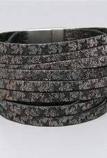 Blue Suede Jewels Star Printed Leather Magnetic Bracelet