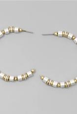 Blue Suede Jewels Metal Beaded Hoop Earrings