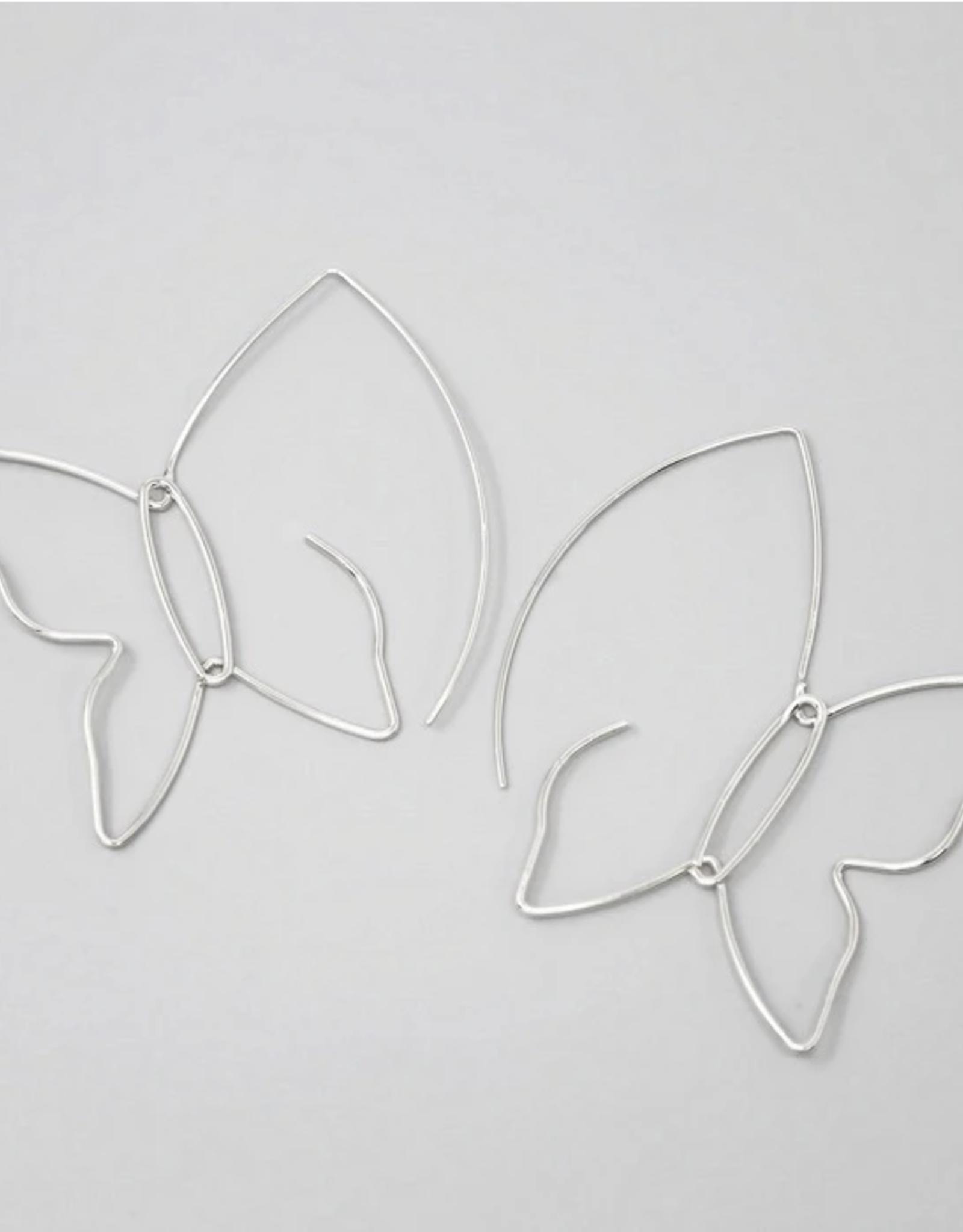 Blue Suede Jewels Butterfly Wire Hoop Earrings