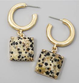 Blue Suede Jewels Natural Stone Charm Hoop Earrings