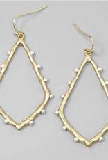 Blue Suede Jewels Metal Ball Embellished Teardrop Shape Earrings - Worn Gold