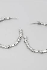 Blue Suede Jewels Silver Metal Cube Beaded Hoop Earrings