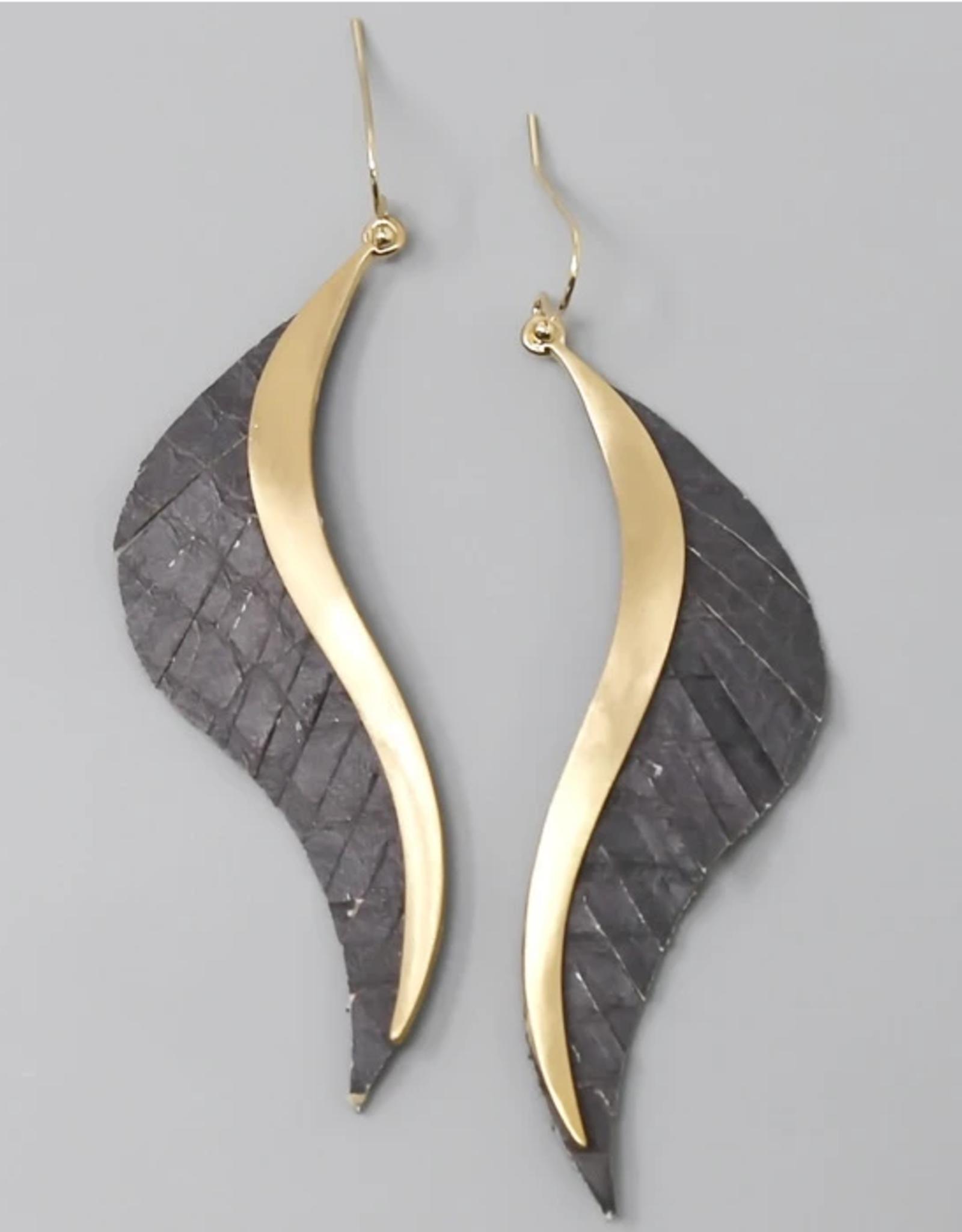 Blue Suede Jewels Leather Fringe Wave Drop Earrings