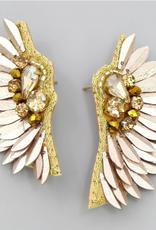 Blue Suede Jewels Angel Wings Sequin Drop Earrings