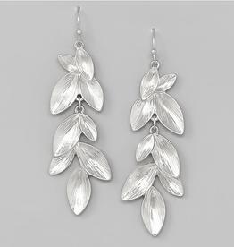 Blue Suede Jewels Leaf Vine Textured Metal Drop Earrings