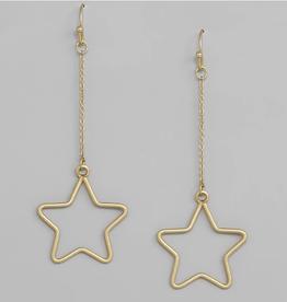 Blue Suede Jewels Star Chain Drop Earrings