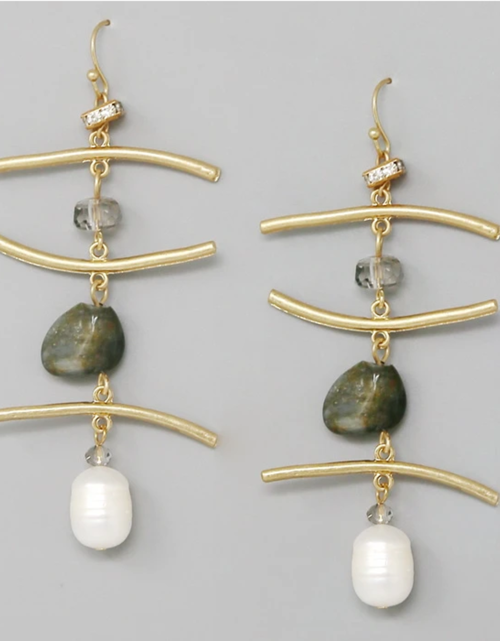Blue Suede Jewels Metal Bar With Natural Stone And Pearl Drop Earrings