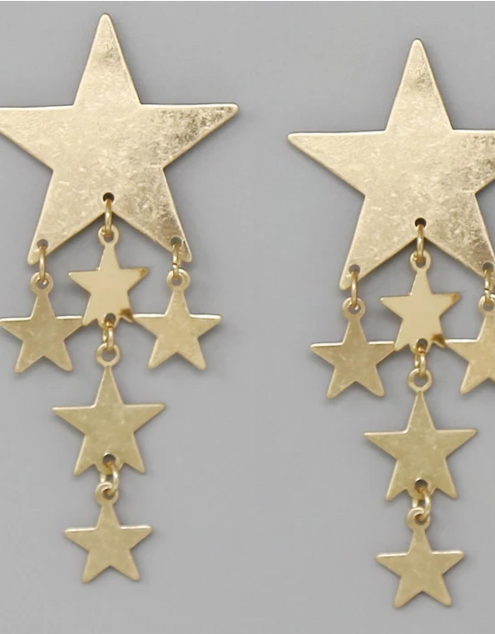 Blue Suede Jewels Metal Star Fringe Drop Earrings