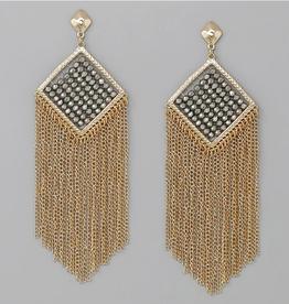Blue Suede Jewels Glass Beaded Chain Fringe Earrings