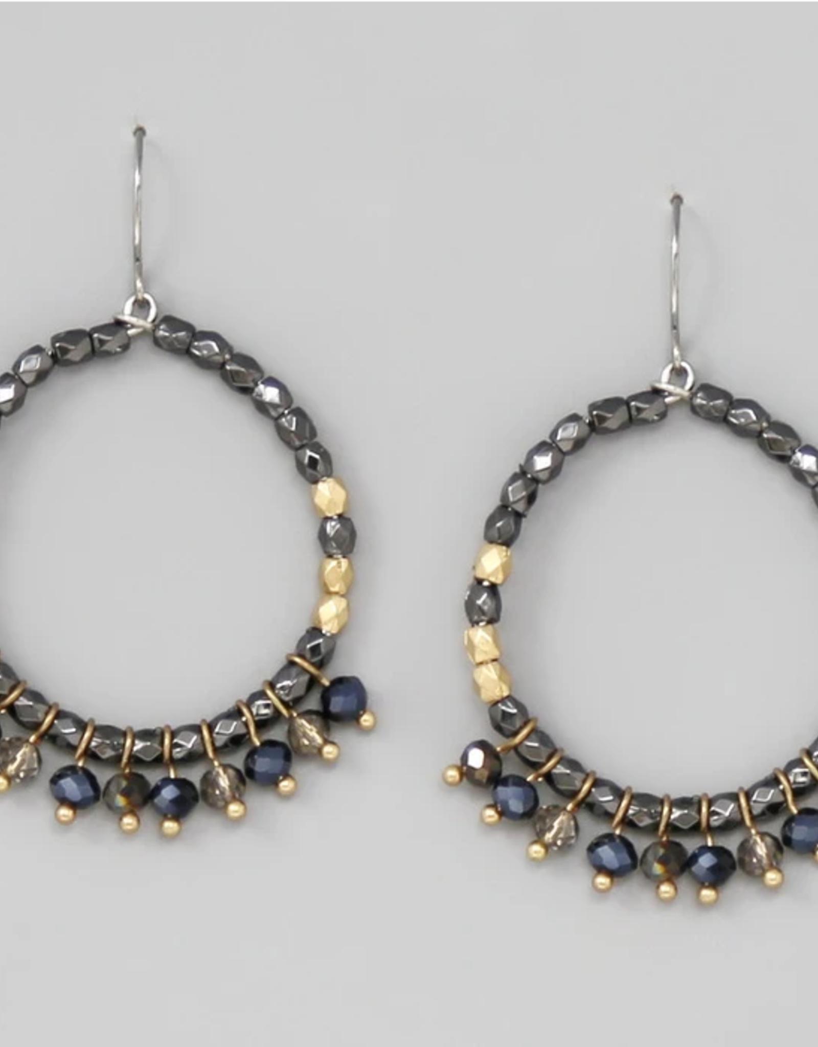 Blue Suede Jewels Glass Bead Fringe Beaded Hoop Earrings