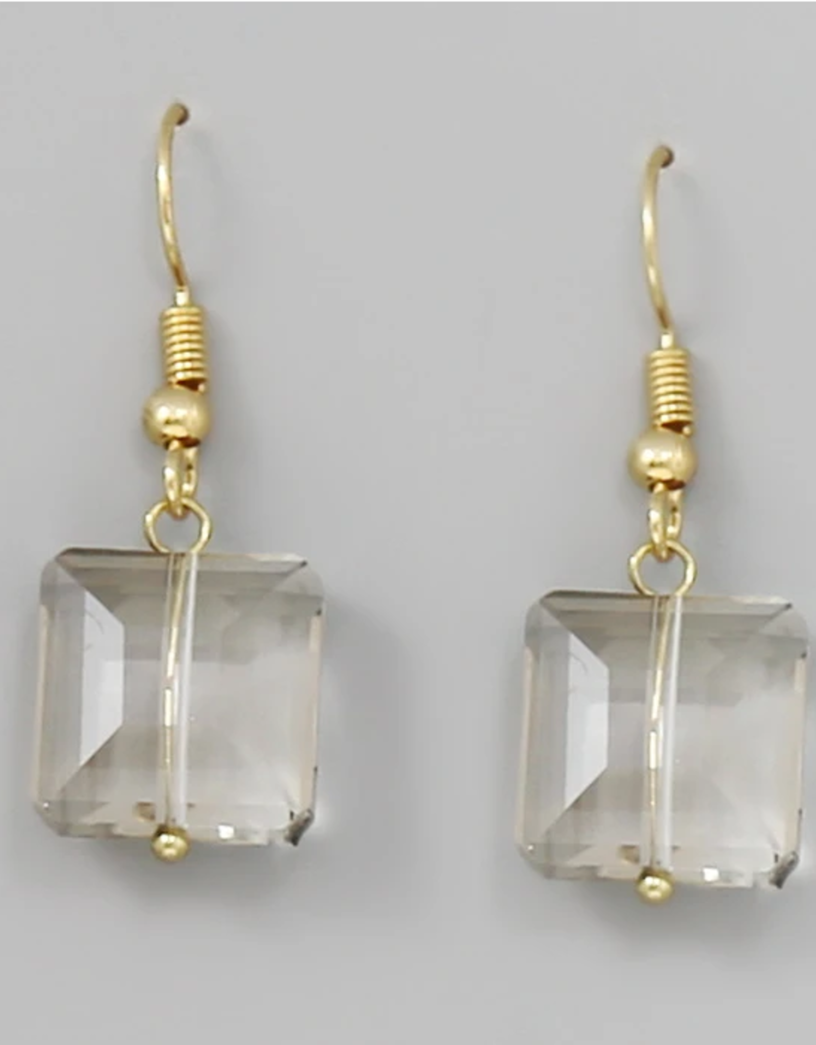 Blue Suede Jewels Square Glass Stone Drop Earrings