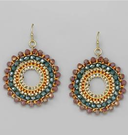 Blue Suede Jewels Glass And Seed Beaded Hoop Drop Earrings