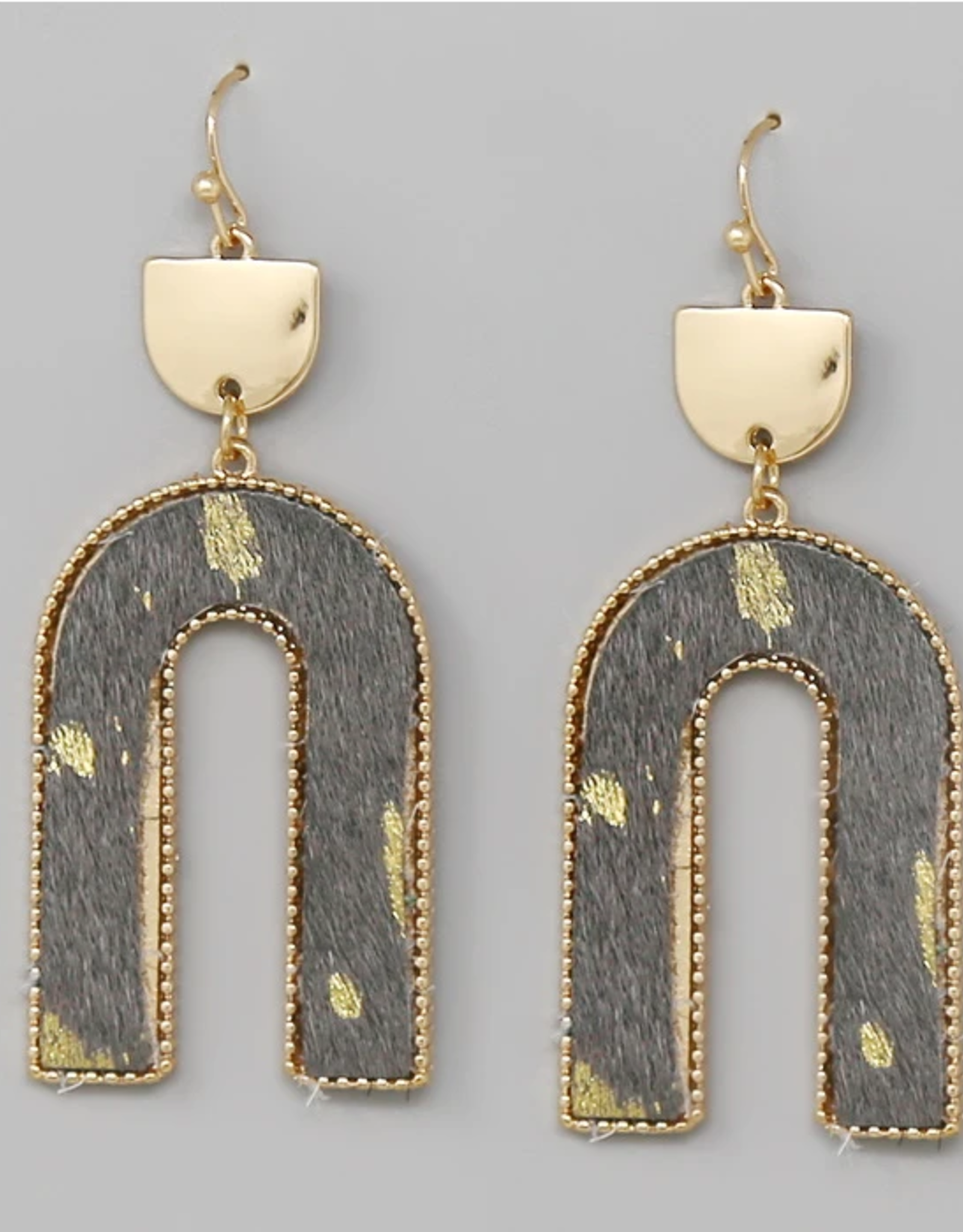 Blue Suede Jewels Fur Arch Drop Earrings