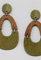 Blue Suede Jewels Two Tone Wooden Drop Earrings