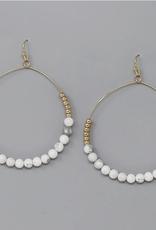 Blue Suede Jewels Natural Stone Beaded Hoop Earrings