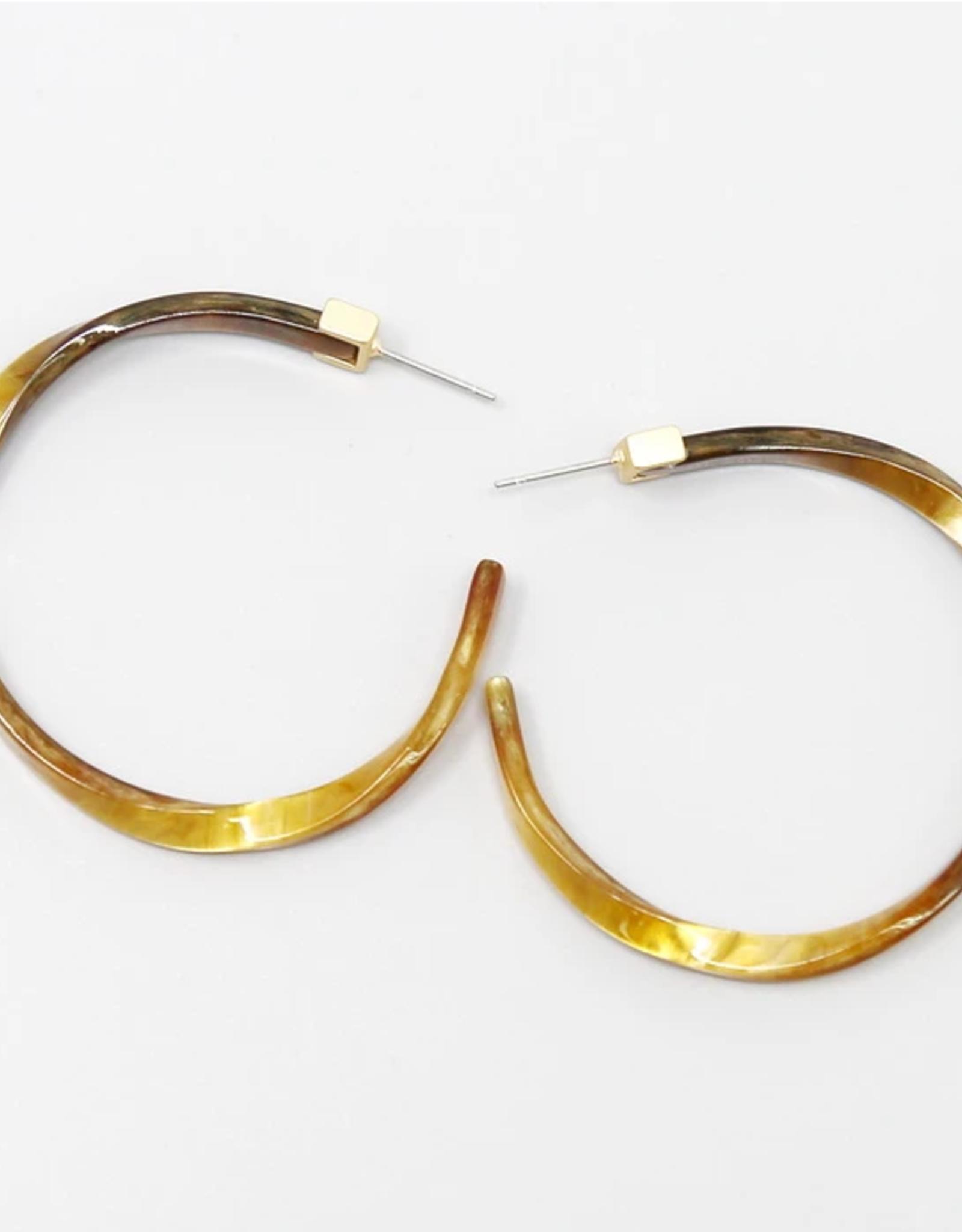 Blue Suede Jewels Twisted Acetate Hoop Earrings