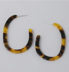 Blue Suede Jewels Acetate Oval Hoop Earrings