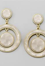 Blue Suede Jewels Acetate Hoop & Disc Drop Earrings
