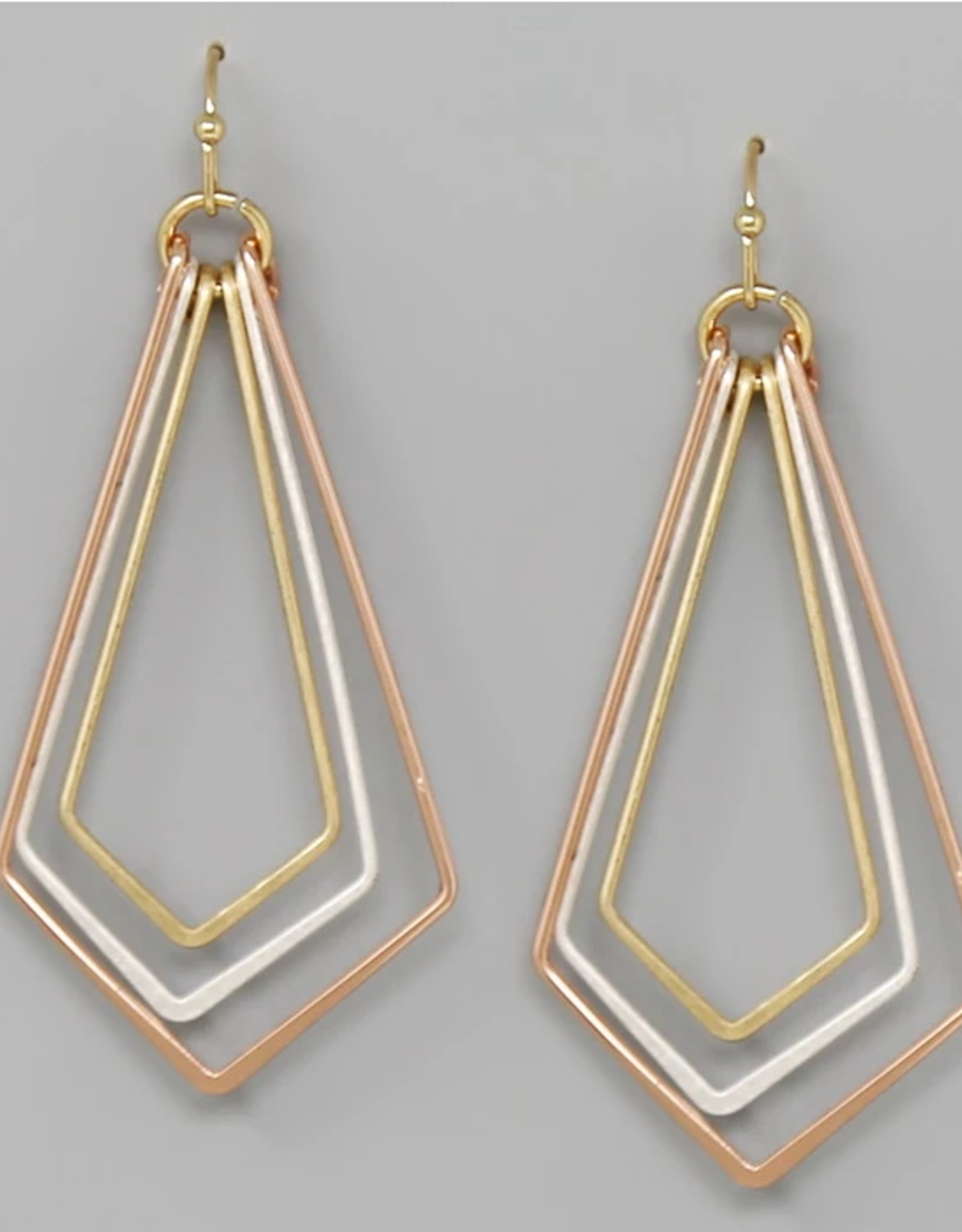 Blue Suede Jewels Rhombus Shape Triple Trapeze Hoop Earrings
