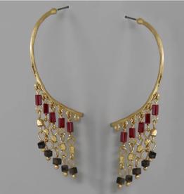 Blue Suede Jewels Beaded Fringe Hoop Earrings