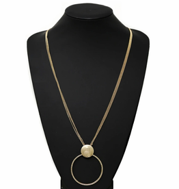 Blue Suede Jewels Metal Disc Hoop Linked Pendant Multi Chain Long Necklace
