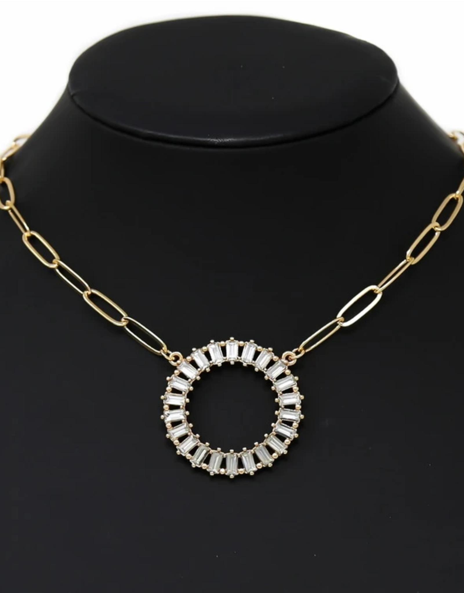 Blue Suede Jewels Emerald Cut Stone Pave Circle Pendant Short Chain Necklace