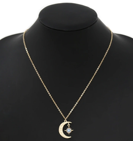 Blue Suede Jewels Moon With Star Pendant Simple Chain Necklace