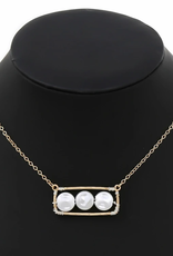 Blue Suede Jewels Triple Pearl Charm Short Chain Necklace