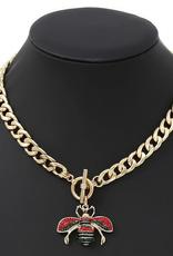 Blue Suede Jewels Enamel Bee Pendant Necklace