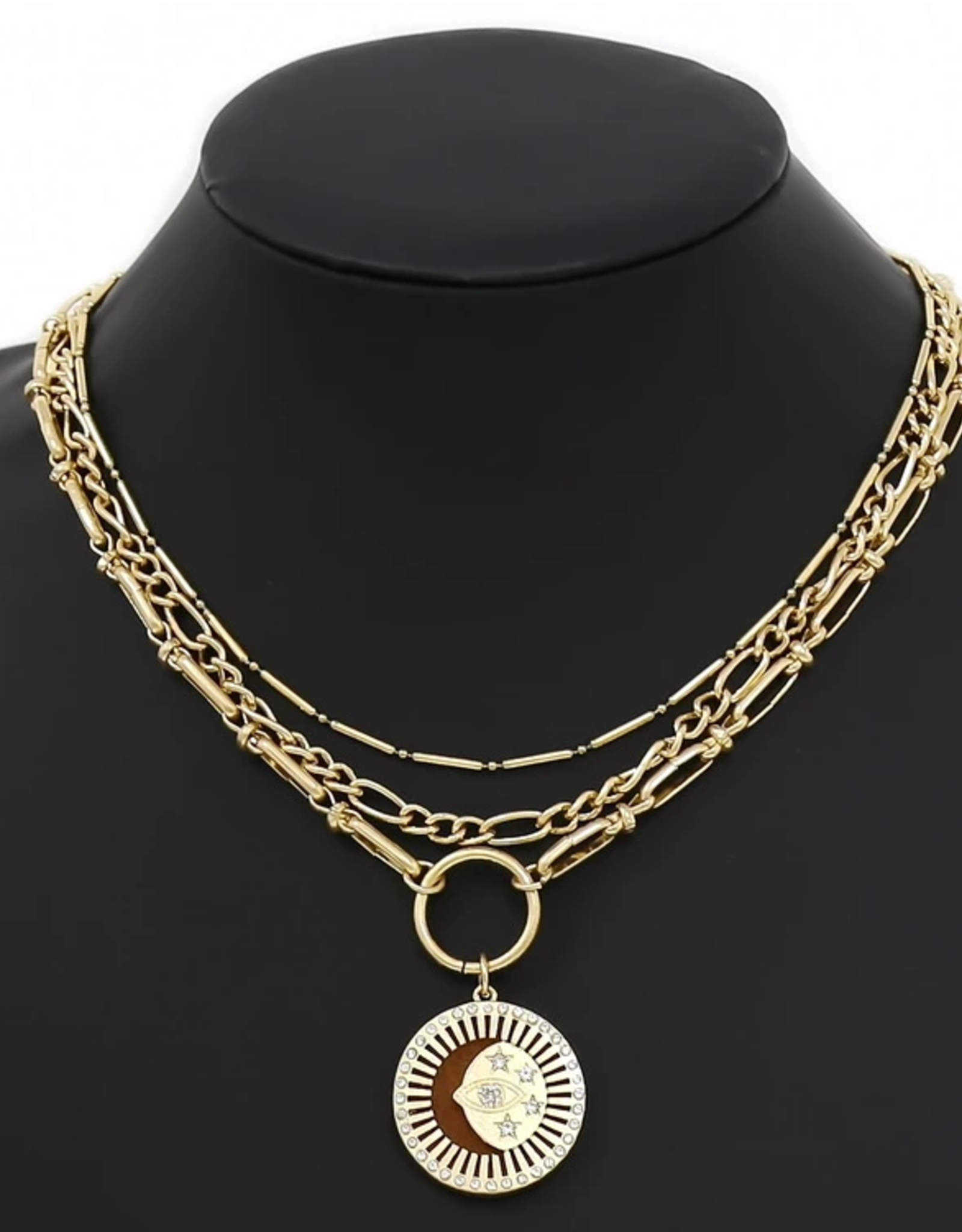 Blue Suede Jewels Coin Pendant Layered Chain Necklace Set