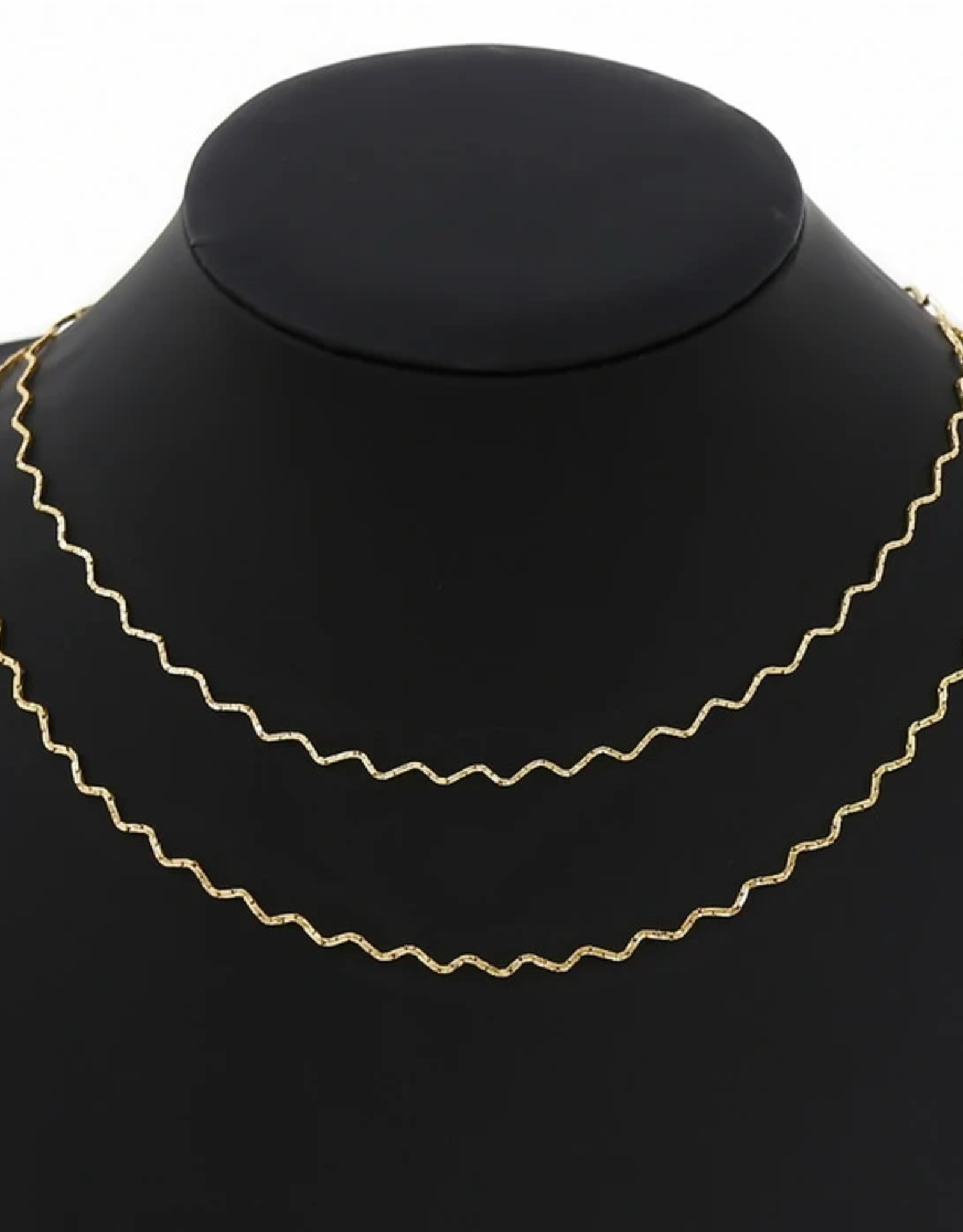 Blue Suede Jewels Wave Layered Simple Chain Necklace