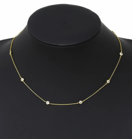 Blue Suede Jewels CZ Stone Station Short Chain Necklace