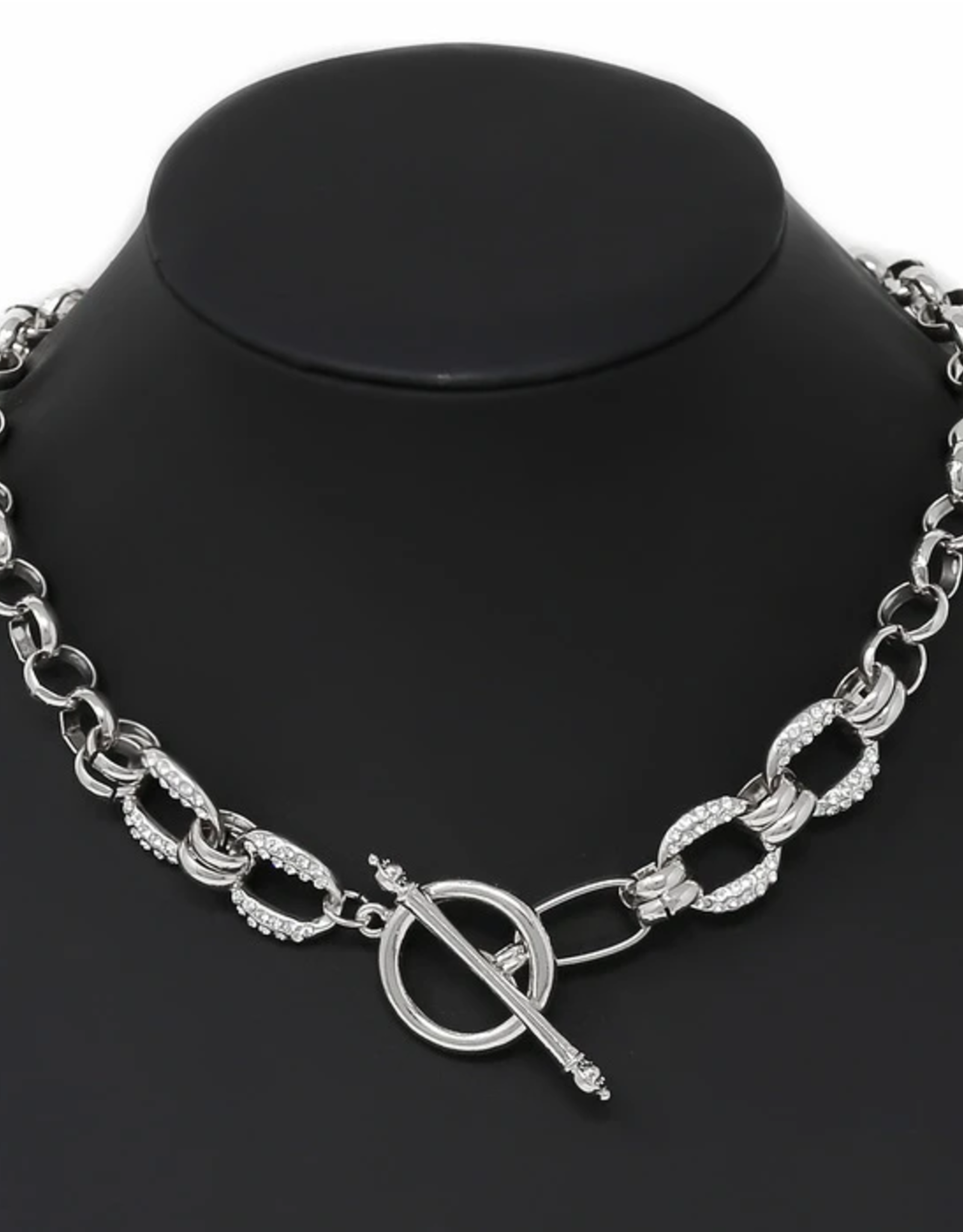 Blue Suede Jewels Rhinestone Pave Linked Chain Toggle Necklace