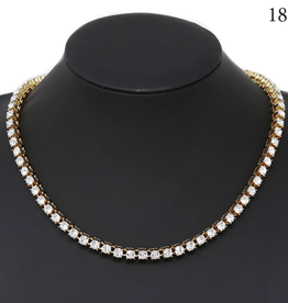 """Blue Suede Jewels Gold Glass Stone Tennis Necklace (16"""")"""