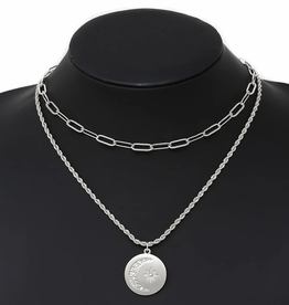 Blue Suede Jewels Star And Moon Pendant Layered Chain Necklace