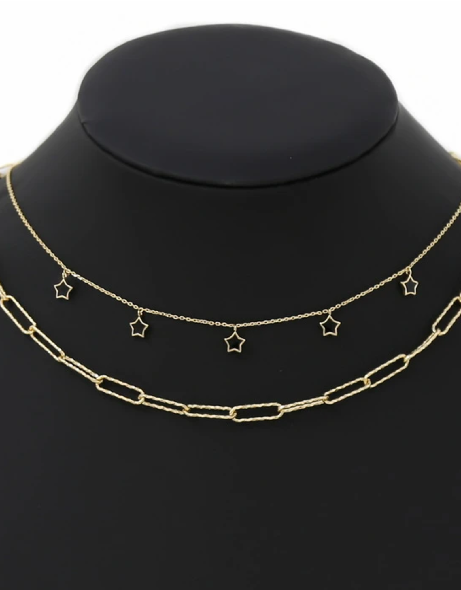 Blue Suede Jewels Star Charm Station Layered Chain Necklace