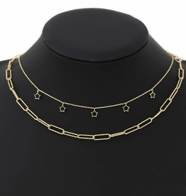 Blue Suede Jewels Star Charm Layered Chain Necklace