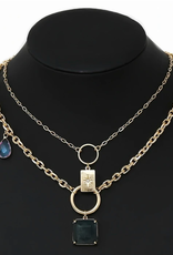 Blue Suede Jewels Natural Stone Pendant Layered Chain Short Necklace
